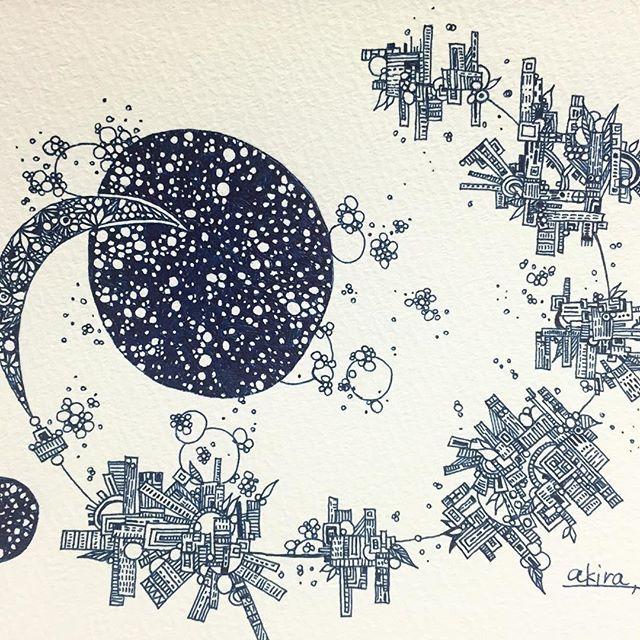 town of night!.#art#akirart#akira#painter#paint#drow#artist#artwork#happy#job#myart#japaneseartist#japan#山根亮#画家#絵#アート依頼#アート#芸術#描く#作品#想い#届け#日本#線画